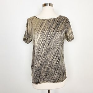 The Limited Gold Abstract Print Short Sleeve Top